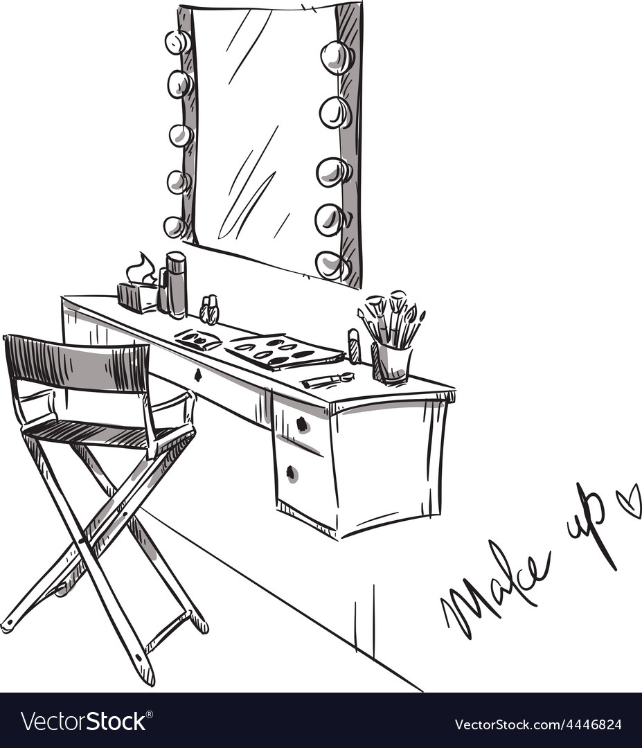 Vanity table and folding chair vector image