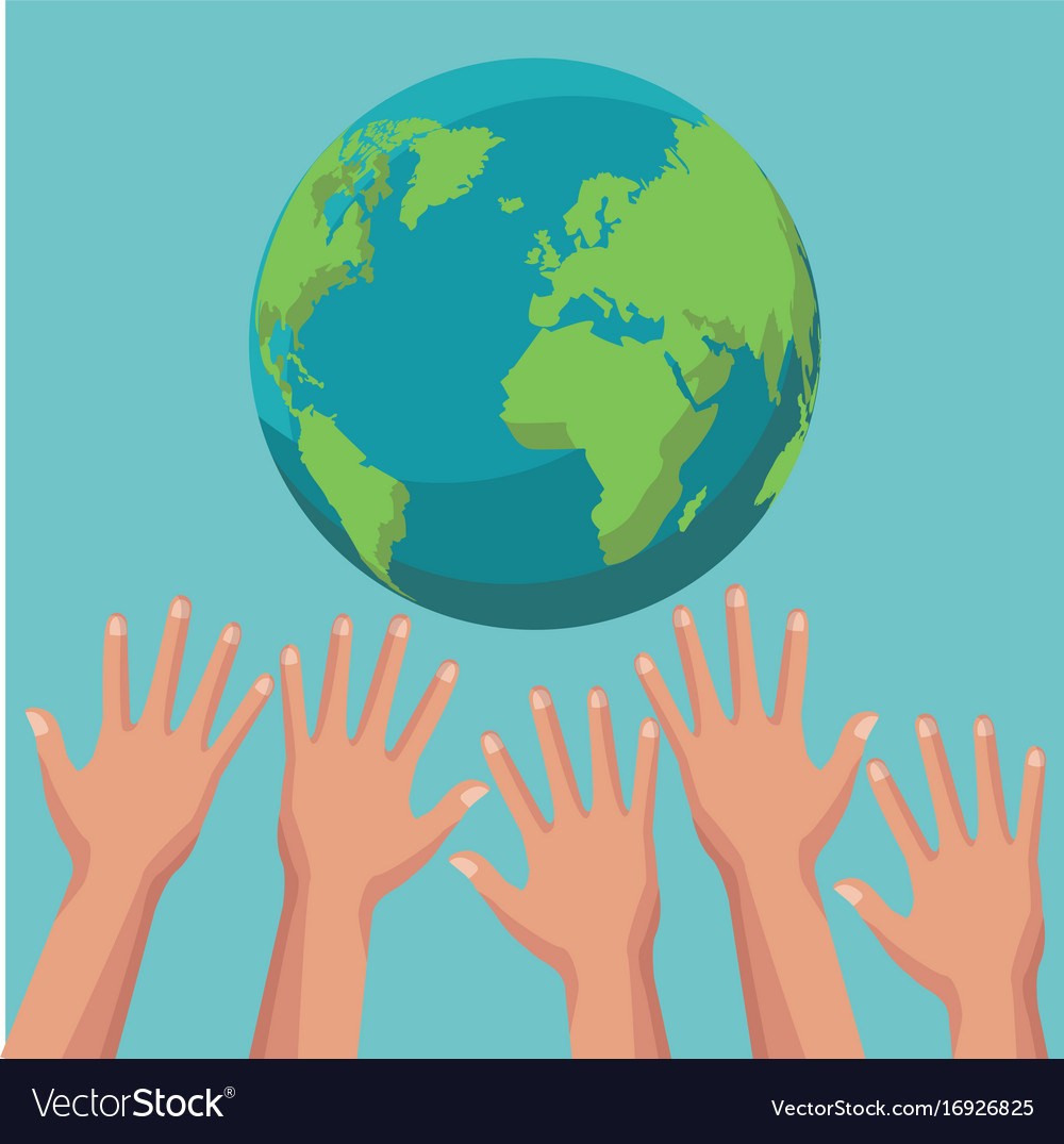 Color poster group of human hands trying to reach vector image