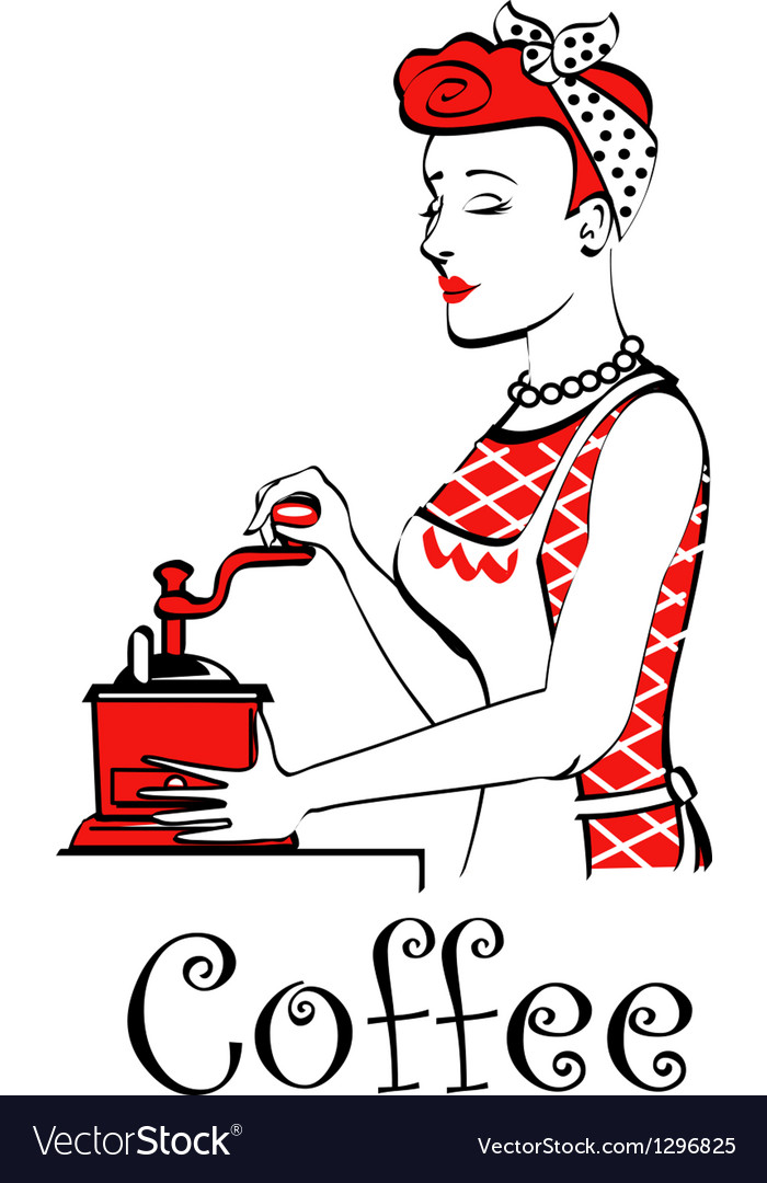Retro lady in the kitchen vector image