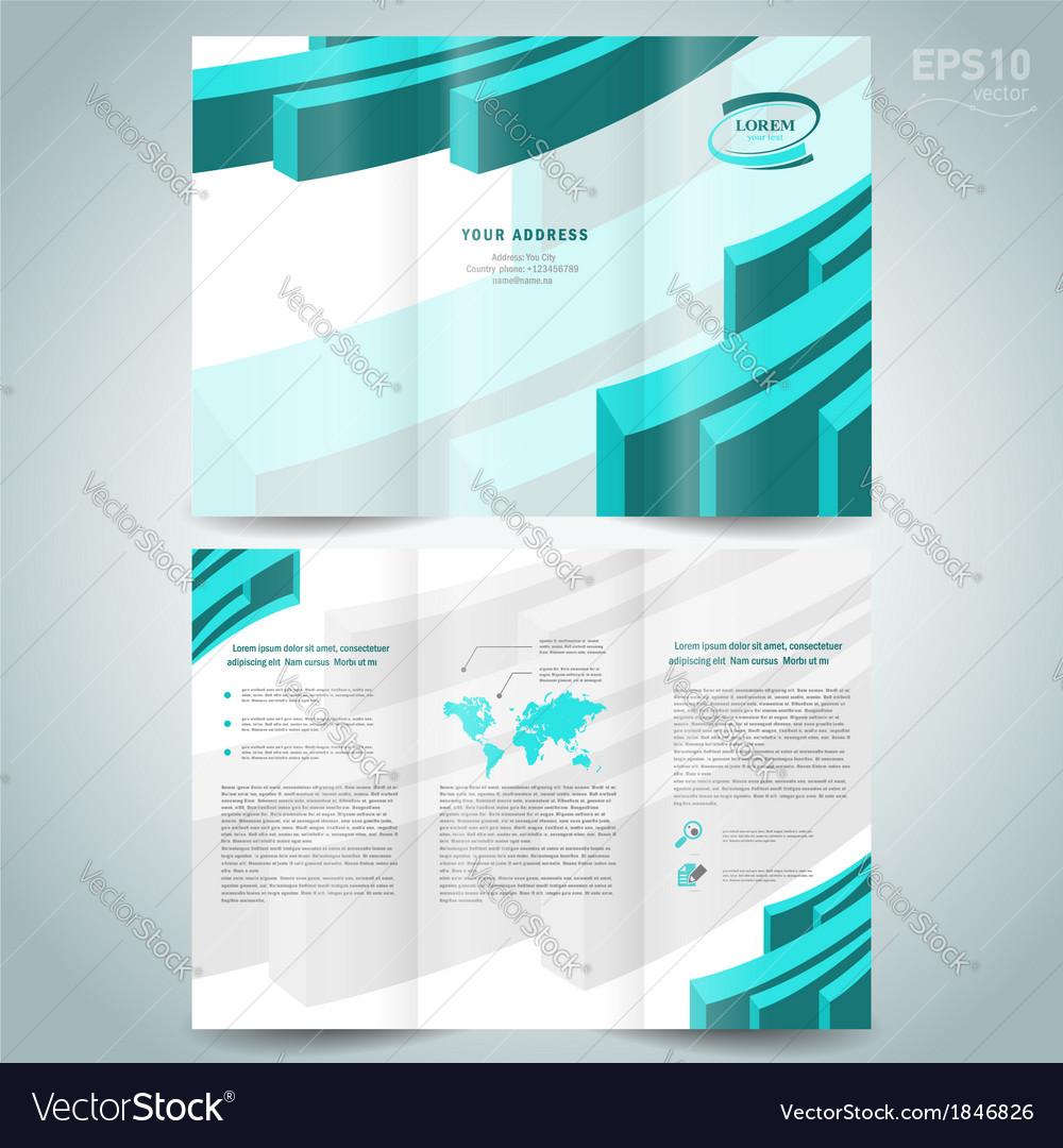 3d Line Brochure Design Template Leaflet Turquoise