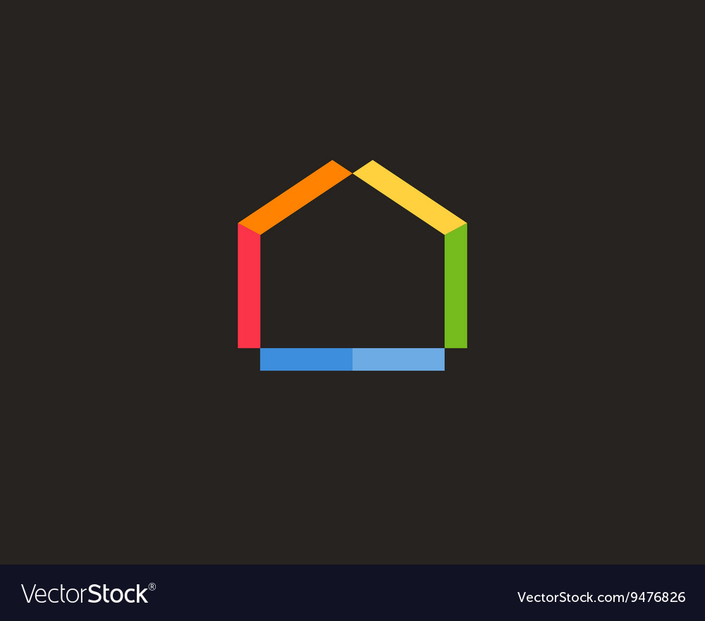 Abstract house logo design template Colorful real vector image
