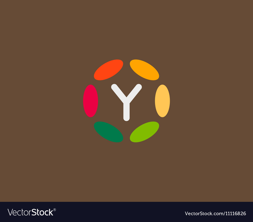 Color letter Y logo icon design Hub frame vector image