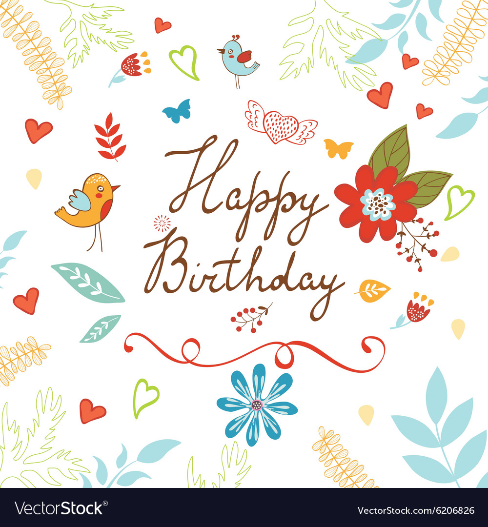 Happy Birthday card with flowers vector image