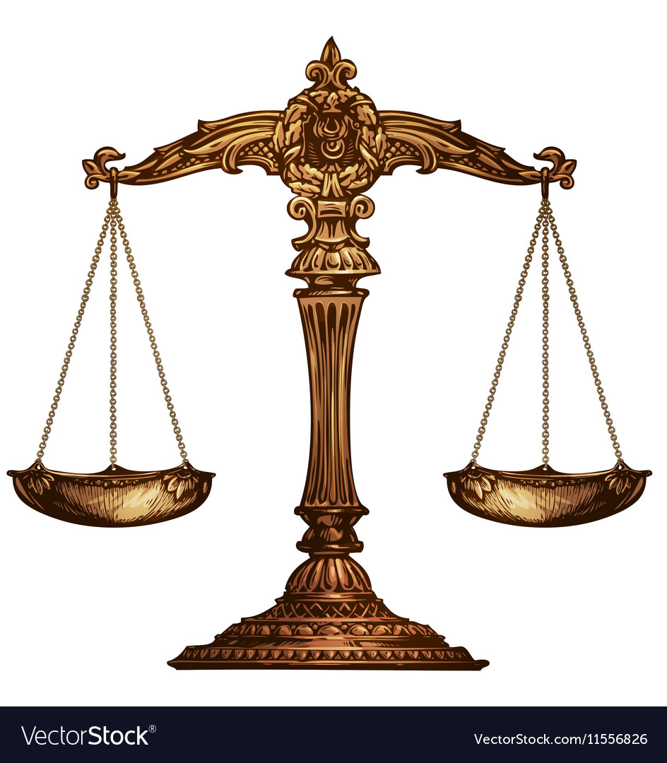 Scales of justice isolated vector image
