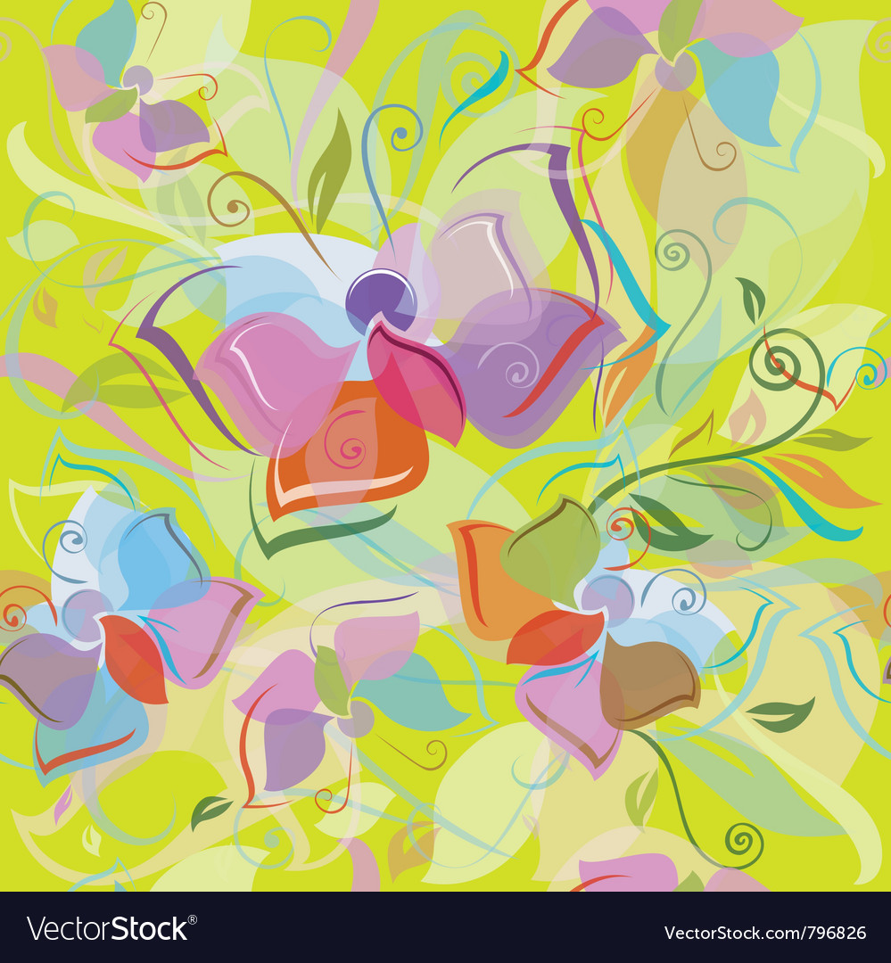 Seamless pattern of flora and butterfly vector image