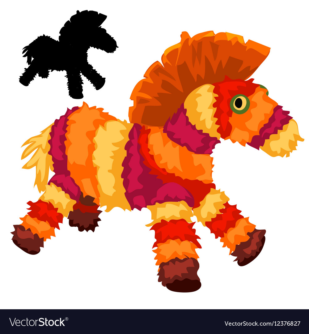 Colorful soft toy horses animal isolated vector image