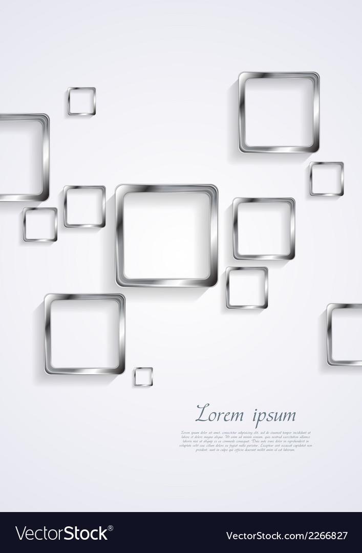 Metallic squares on white background vector image