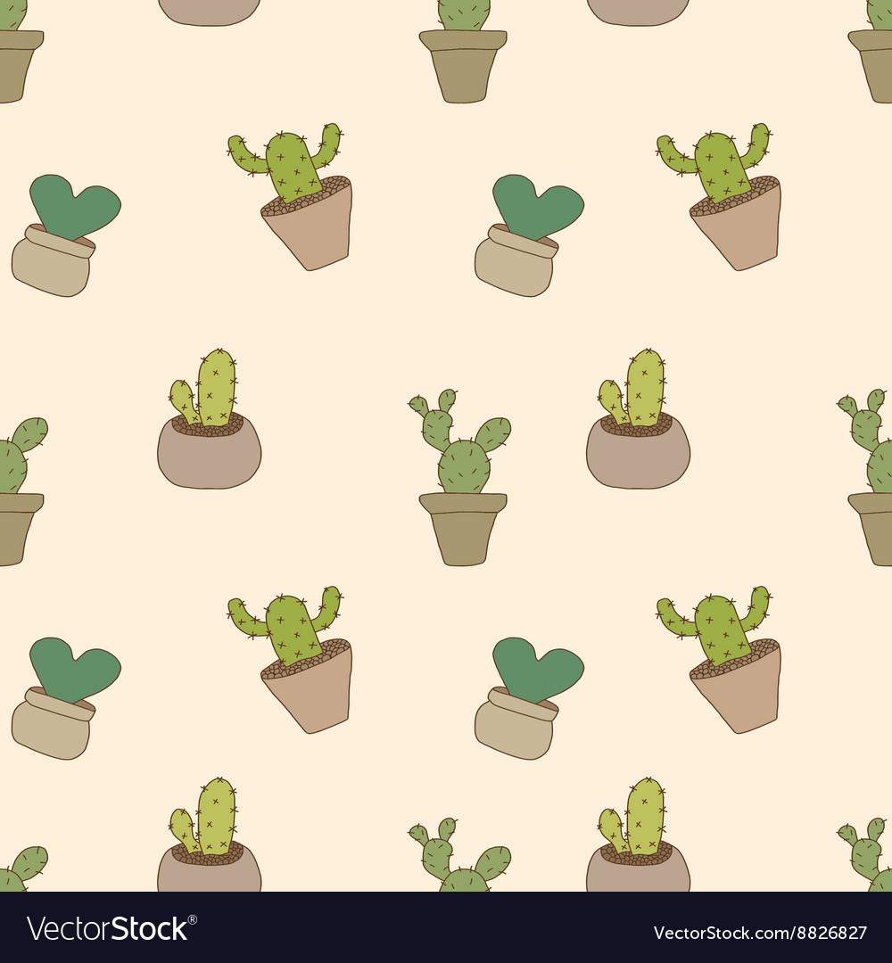 Seamless pattern of cactus pot vector image