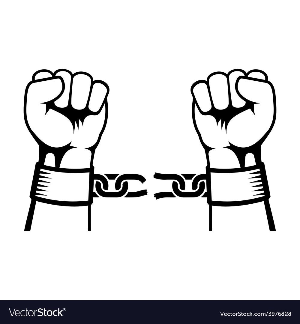 Hands Breaking Steel Chain vector image
