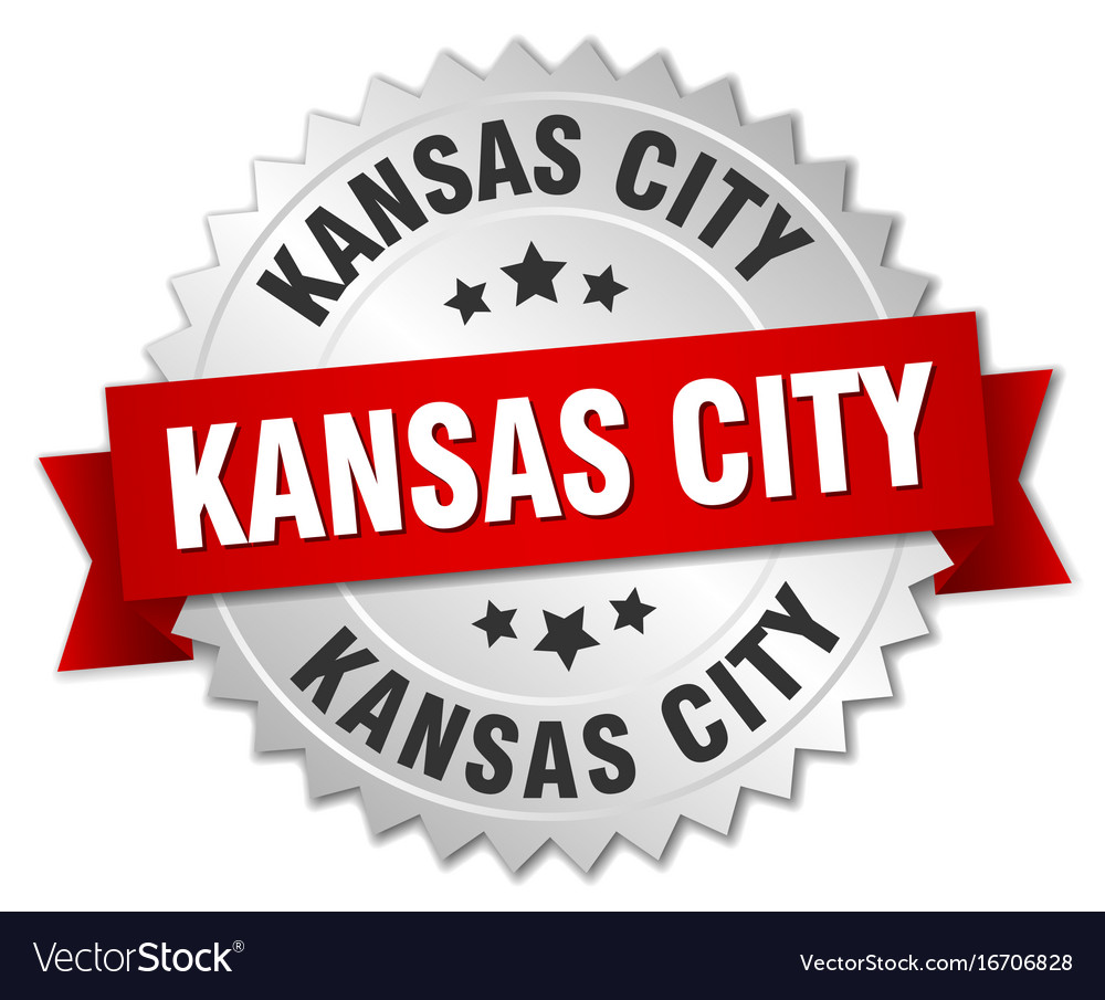 Kansas city round silver badge with red ribbon vector image