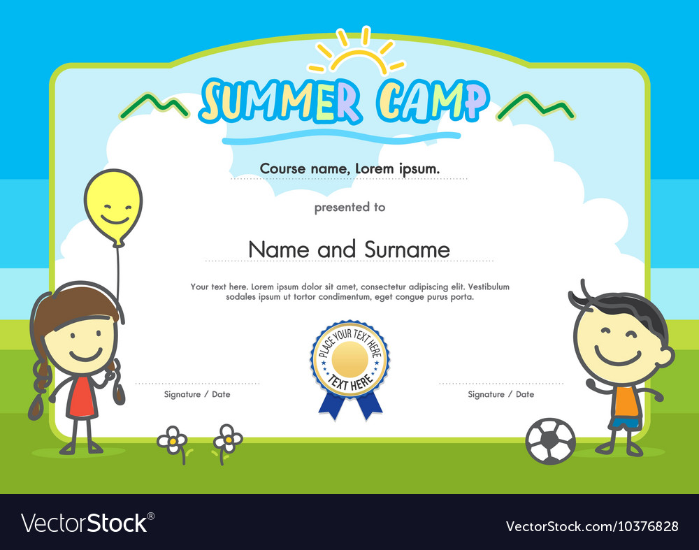Kids Summer Camp Certificate Document Template Vector Image  Certificate Document Template