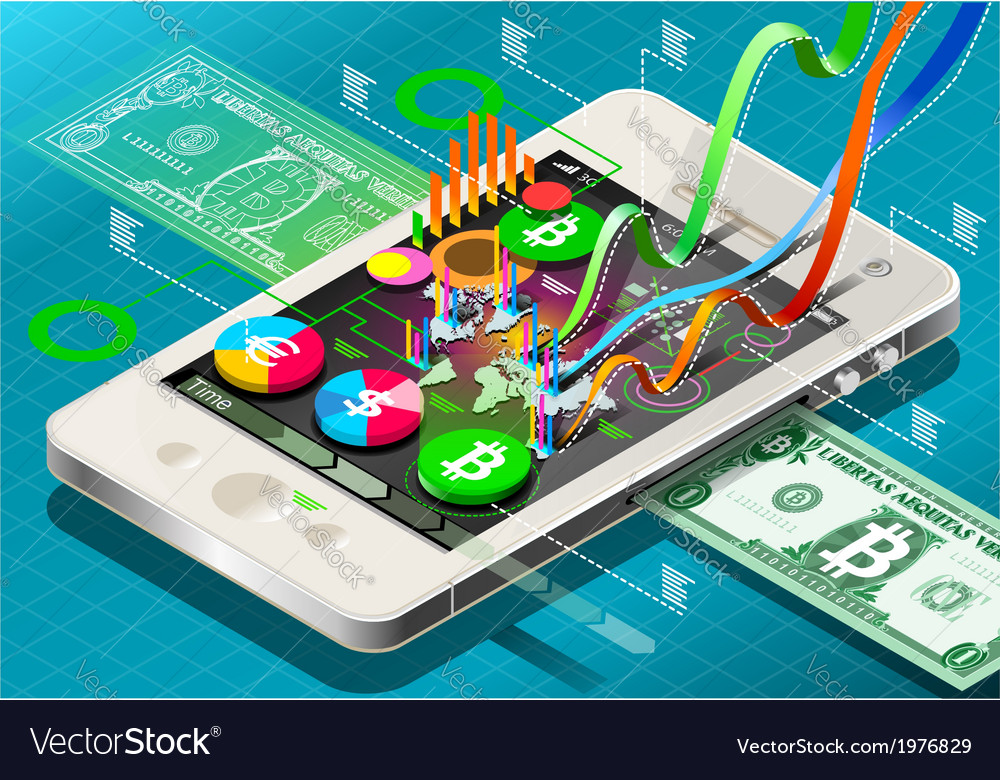 Isometric Virtual Coin Infographic on Mobile Phone vector image