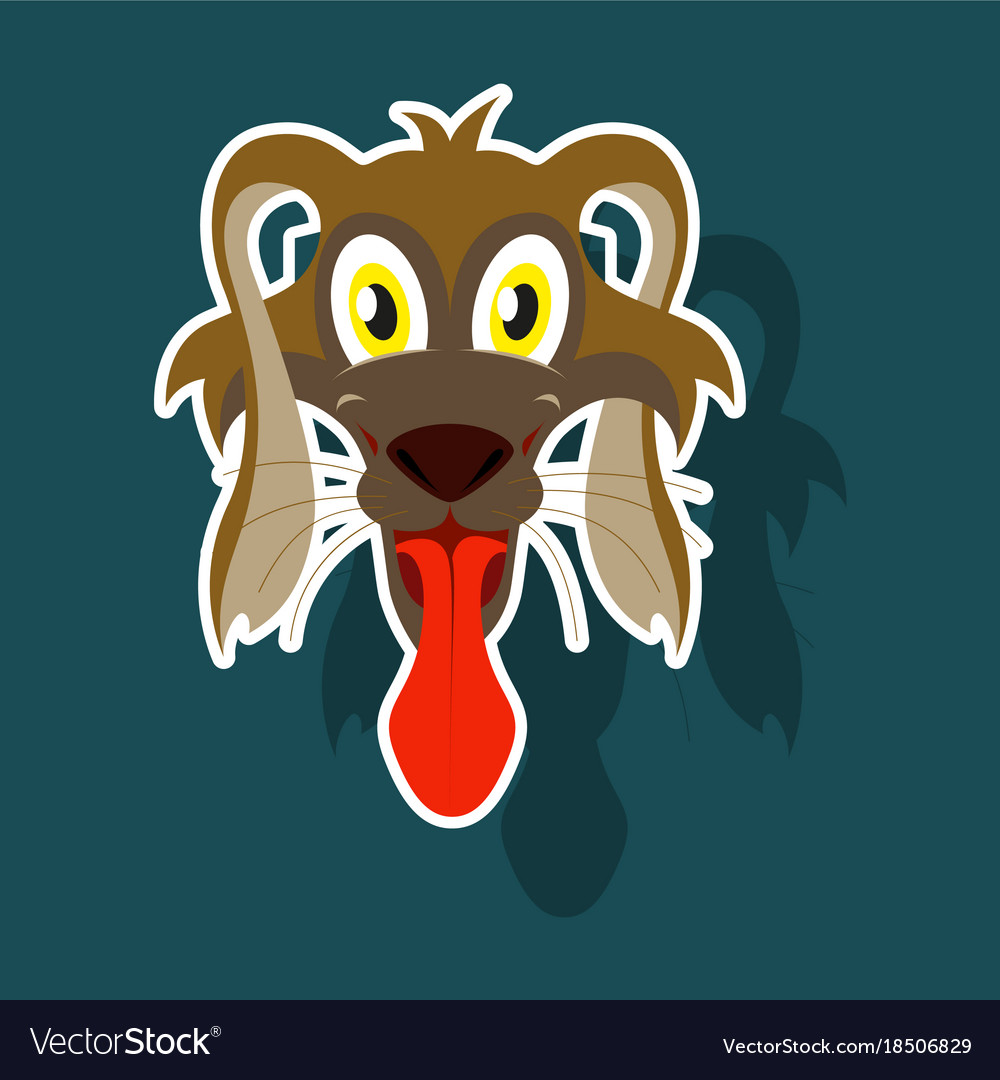 Realistic paper sticker on theme funny animal dog