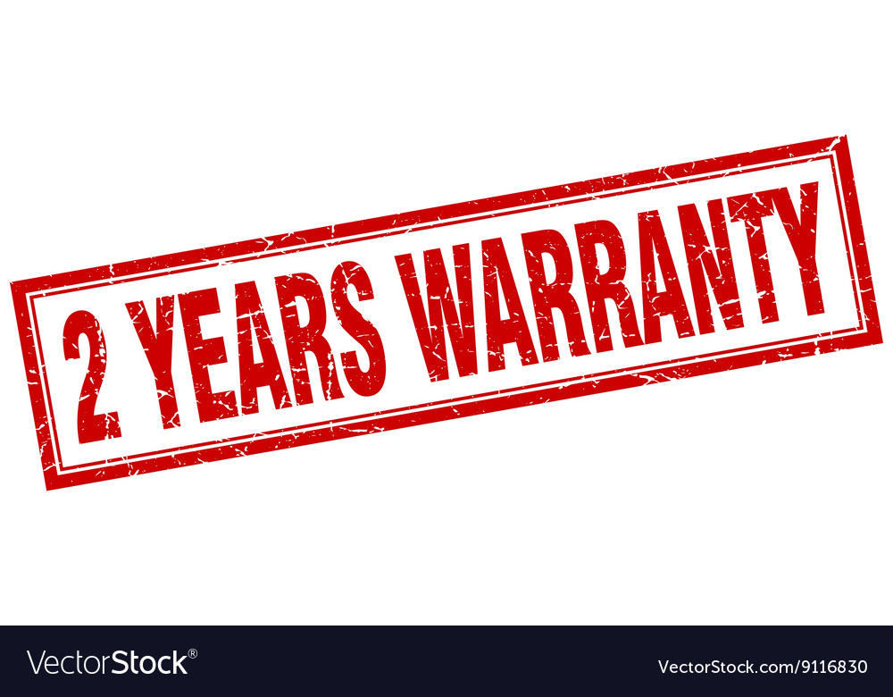 2 years warranty red square grunge stamp on white vector image