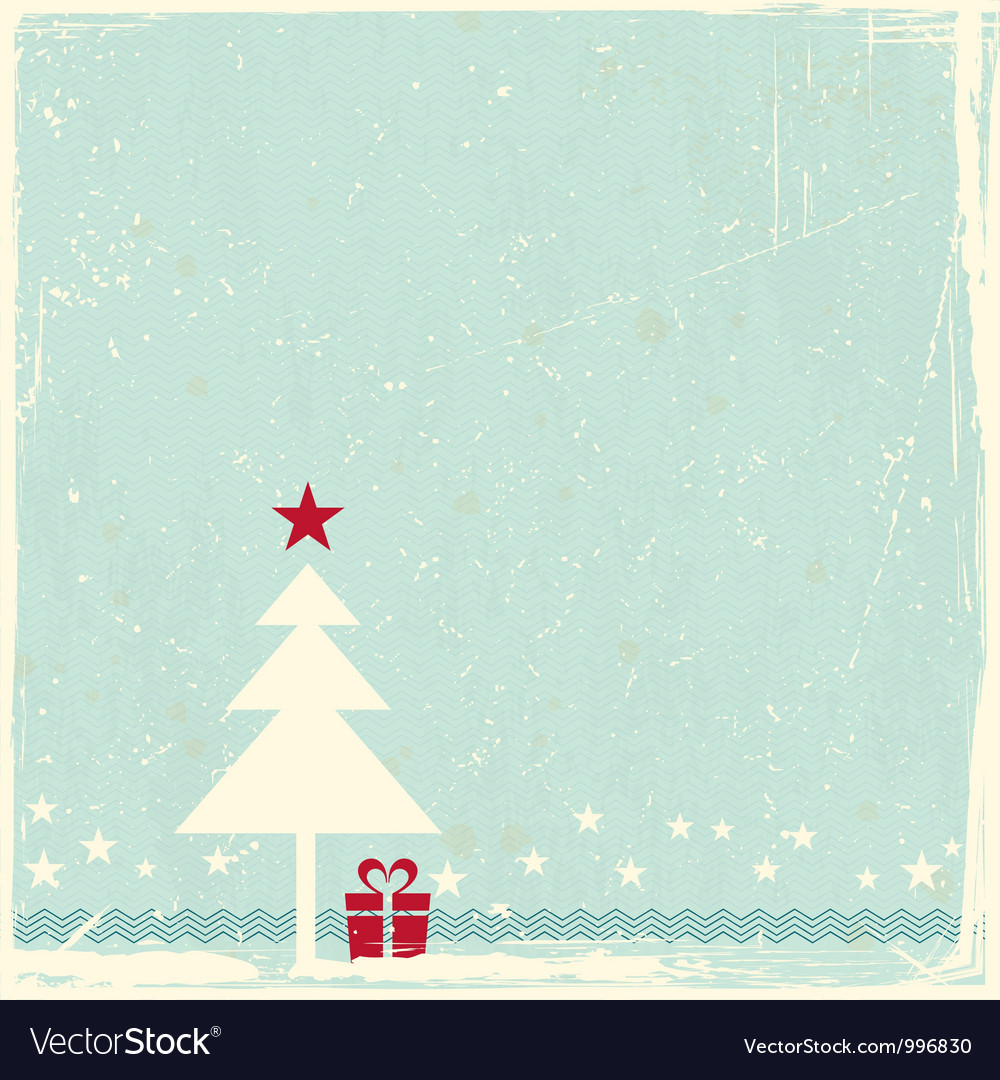 Grunge background with Christmas tree vector image