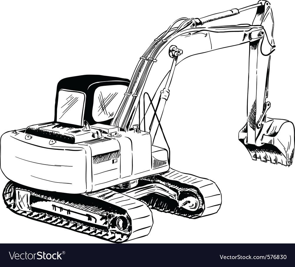 Black Sketch Of Big Excavator Royalty Free Vector Image