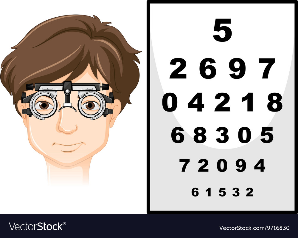 Man wearing eye test glasses and reading chart vector image man wearing eye test glasses and reading chart vector image nvjuhfo Image collections