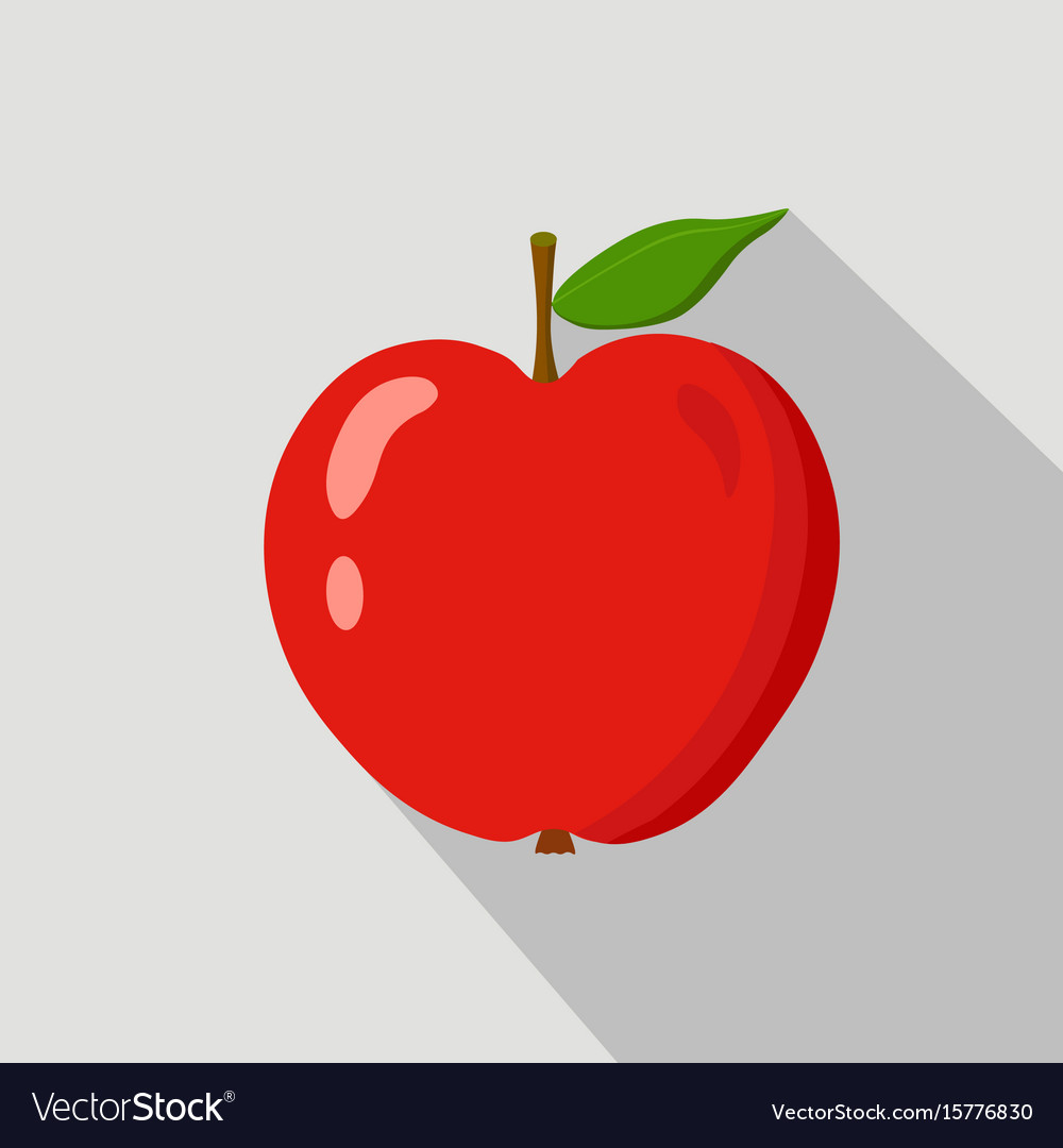 Red apple flat icon vector image
