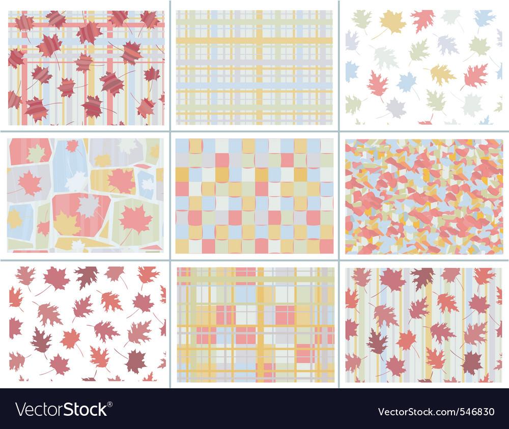Seamless autumn patterns vector image