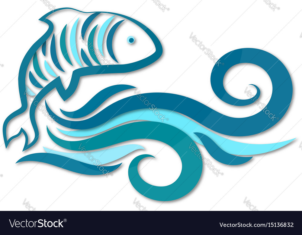 Fish and water waves silhouette vector image