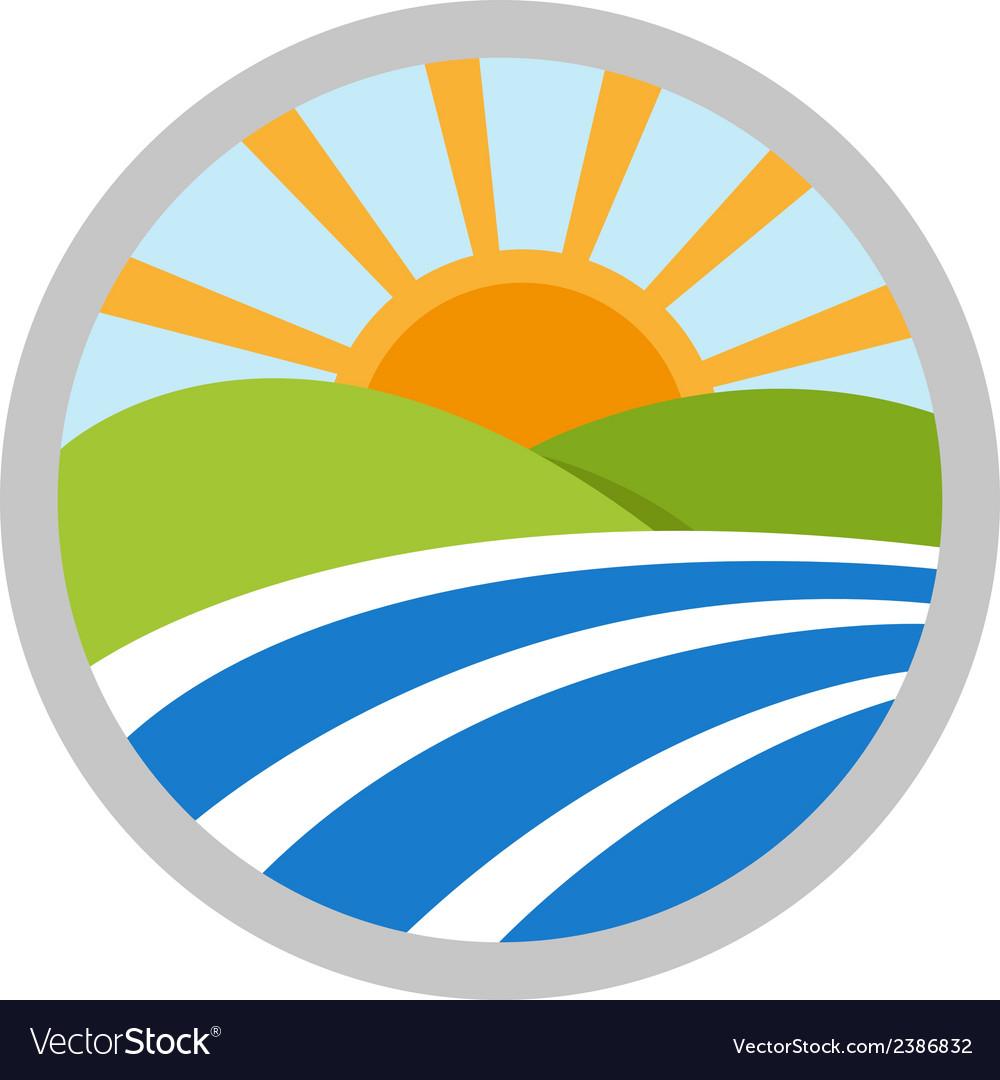 Natural landscape logo icon vector image