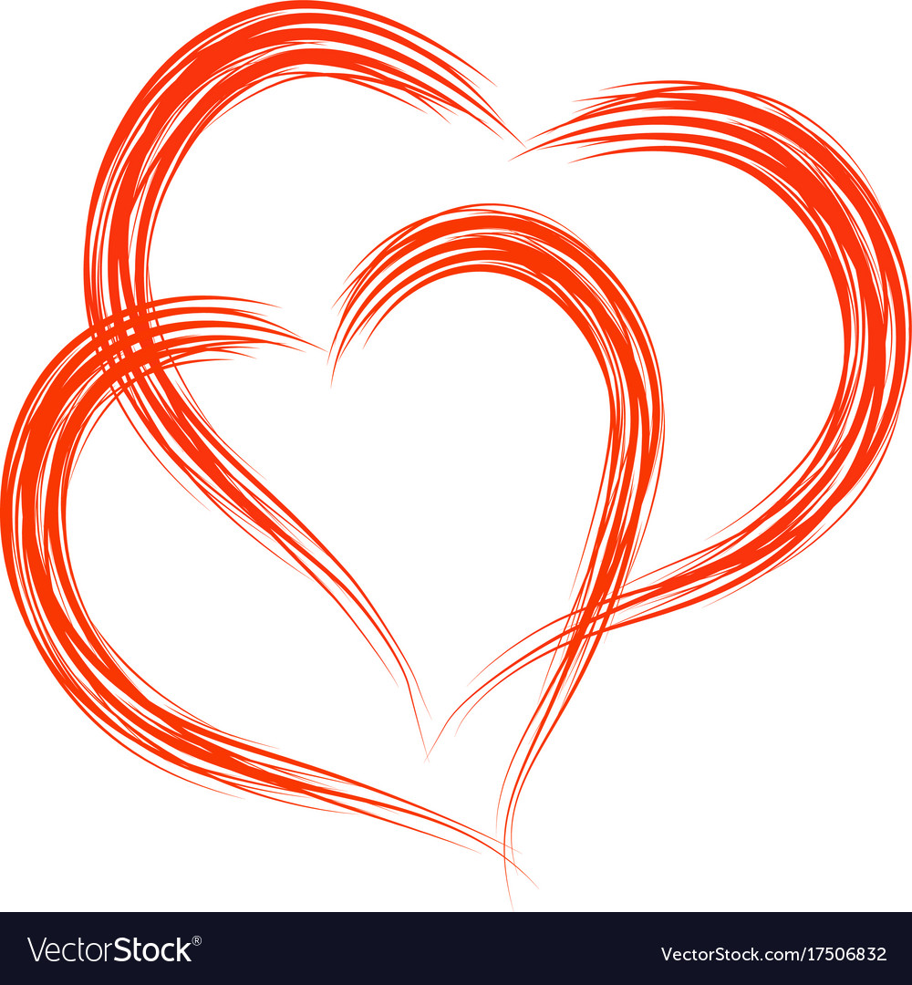 Two heart shapes frame with brush painting Vector Image