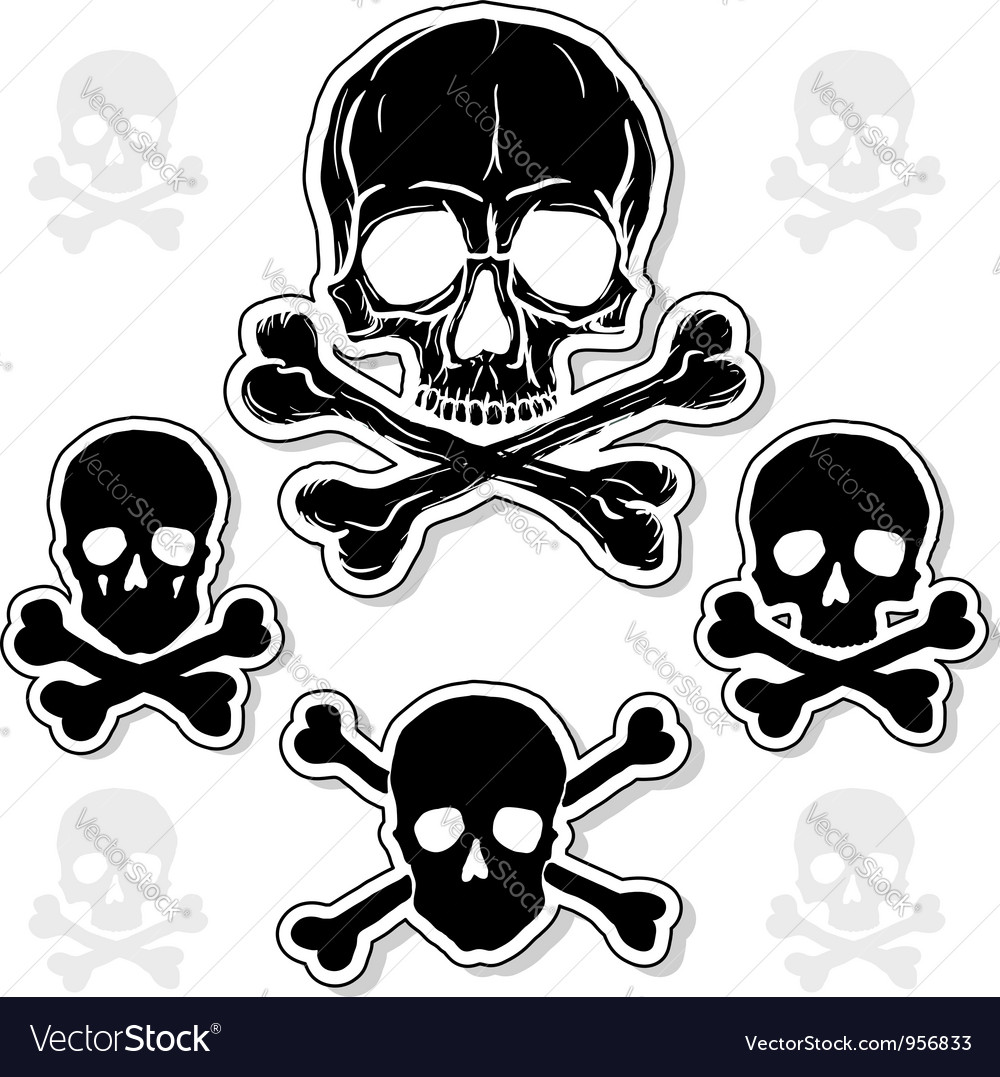 Set of Skulls with Crossbones Vector Image