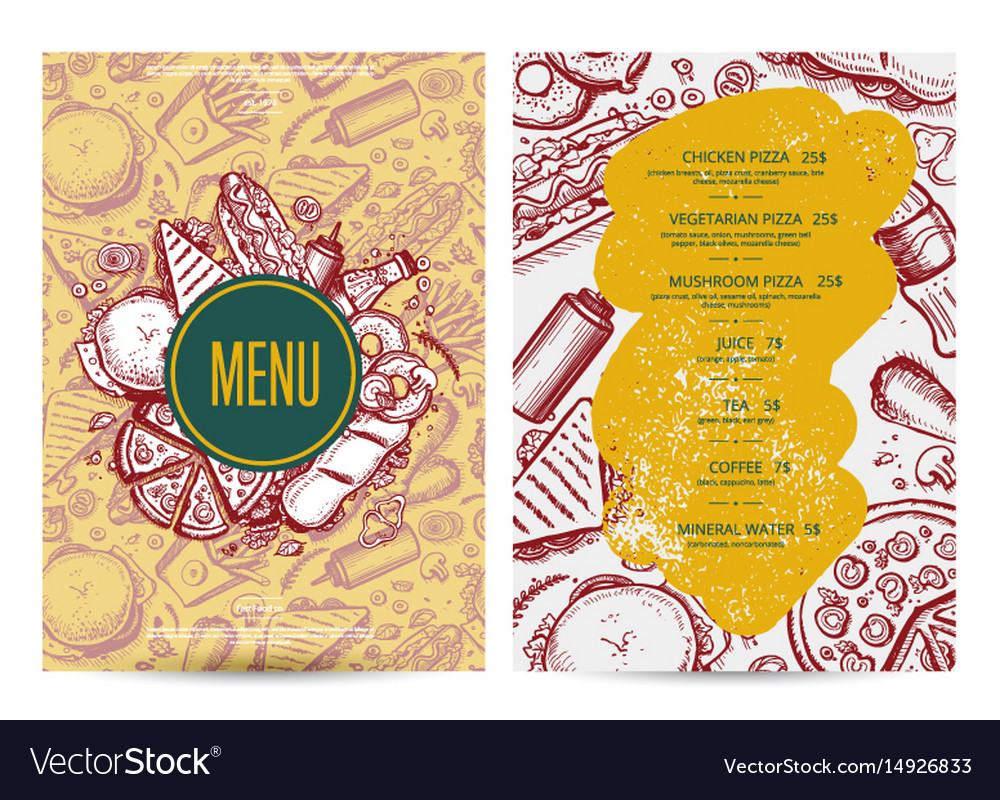 Fast food menu layout with hand drawn graphic vector image