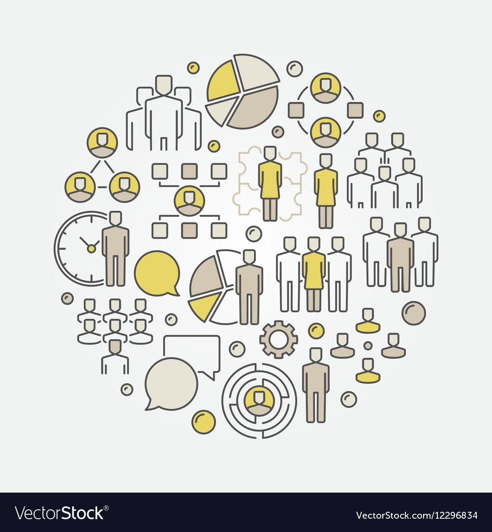 Creative team round vector image