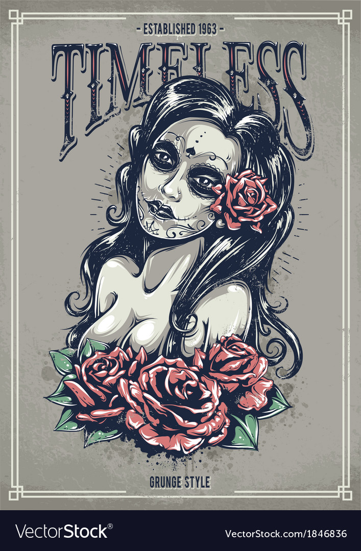 Day of dead sexy girl vector image