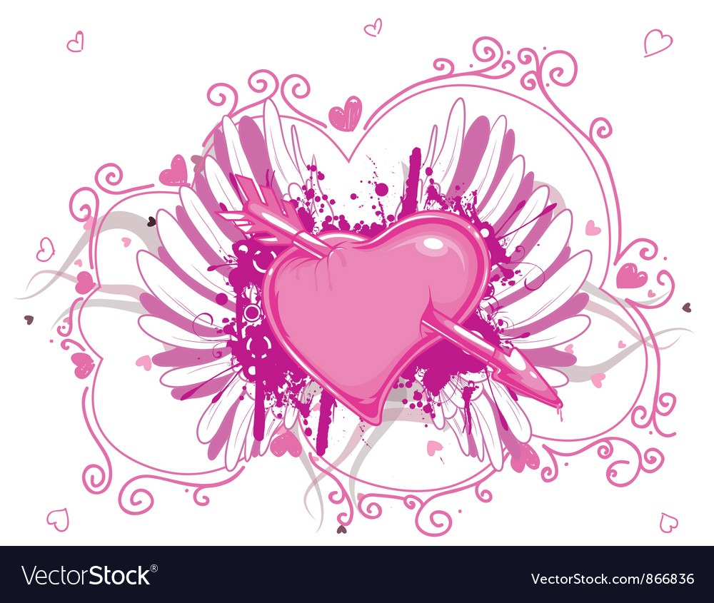 Heart with grunge and wings vector image