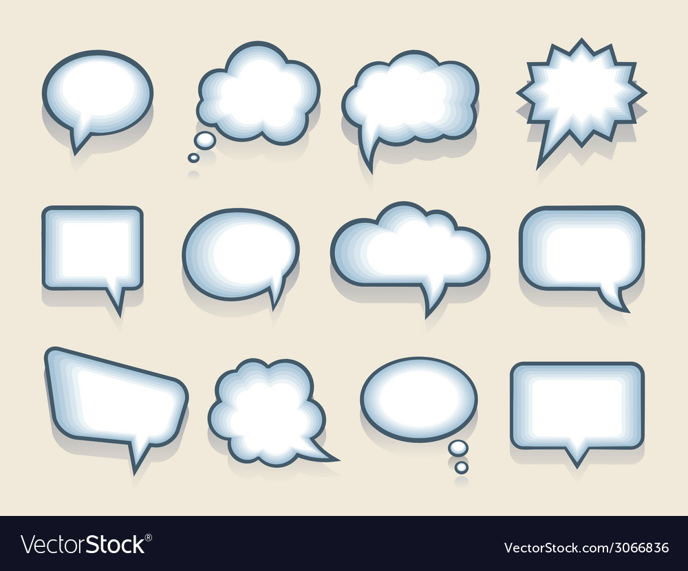 Set of speech or thought bubbles vector image