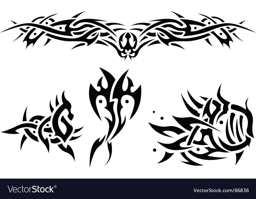 Tattoos sea animals vector image