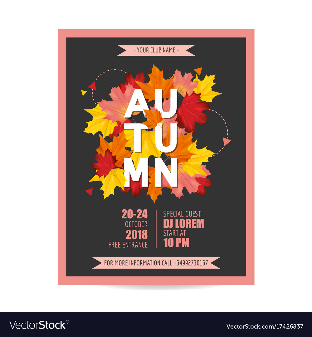 Colorful card invitation with autumn leaves vector image