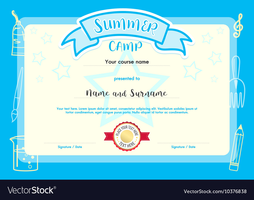 Kids summer camp document certificate template vector image yelopaper Image collections