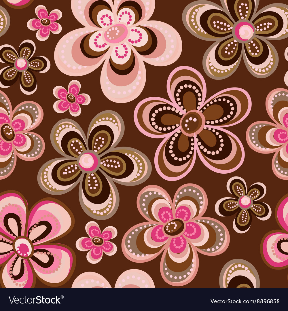 Seamless colorful retro flower background pattern vector image