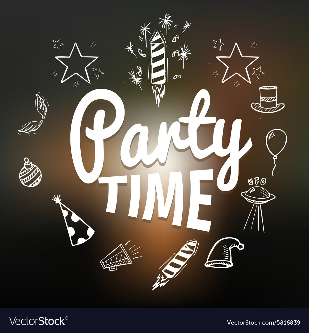 Party time with hand drawn elements vector image