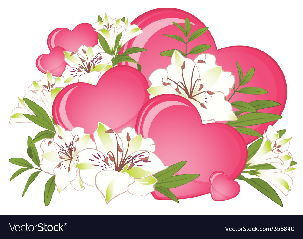 Hearts And Flowers Royalty Free Vector Image