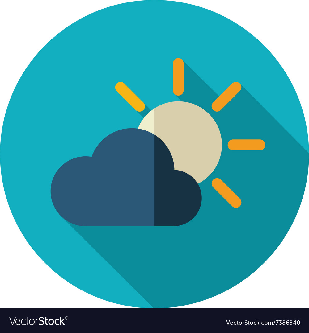 Sun and cloud flat icon Meteorology Weather