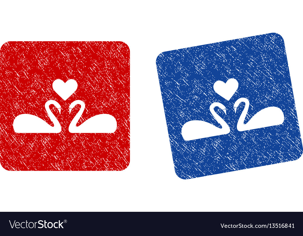 Love swans grunge textured icon vector image