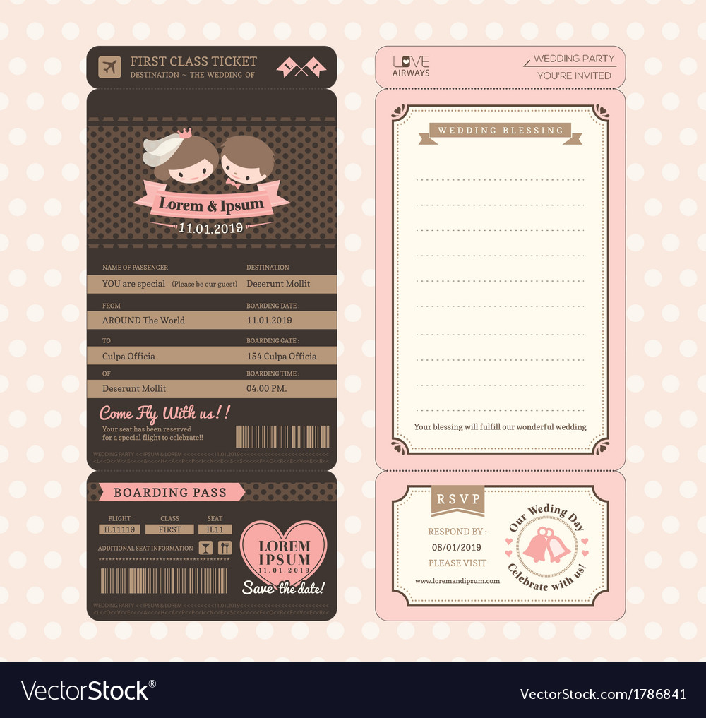 Vintage Boarding Pass Wedding Invitation Template Vector Image - Boarding pass wedding invitation template