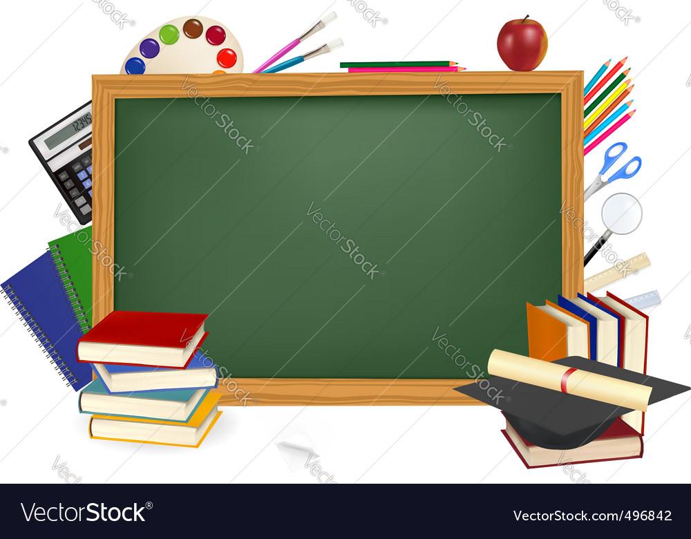 Back to school green desk vector image