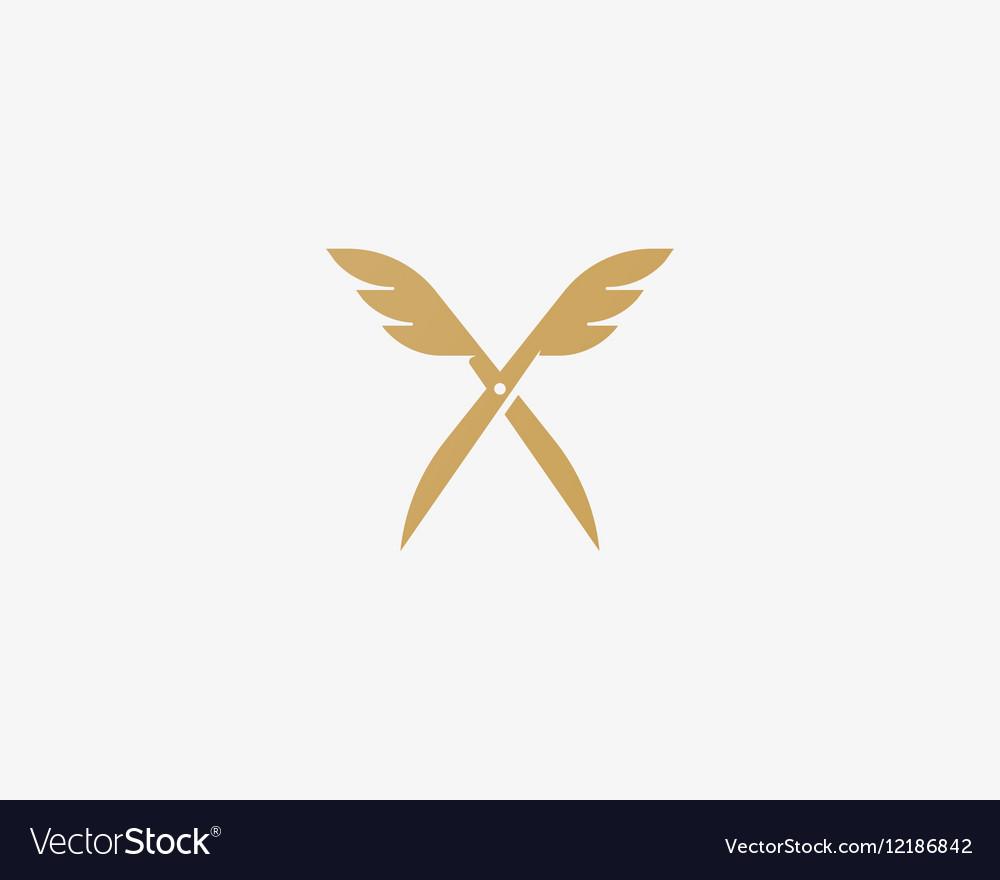 Scissors wings logo design Colorful icon vector image