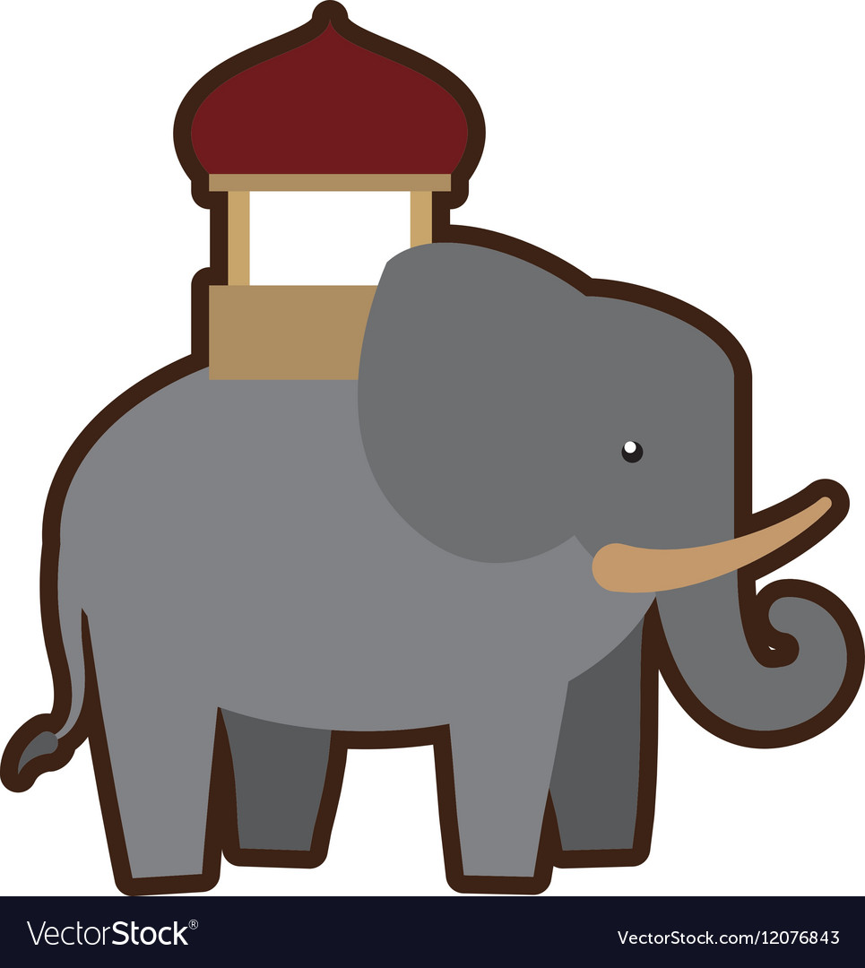 Cartoon indian elephant ornament annual festival vector image