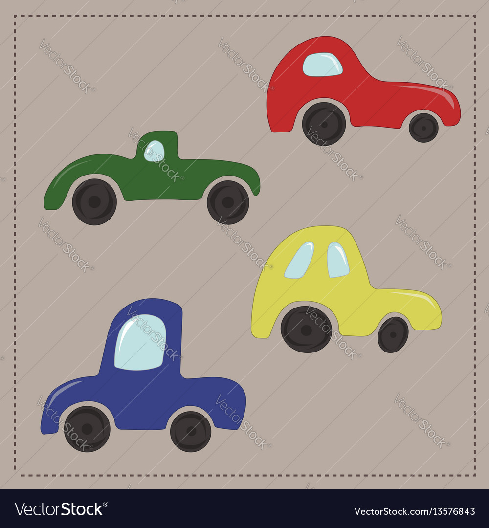 Childrens colorful cartoon cars vector image
