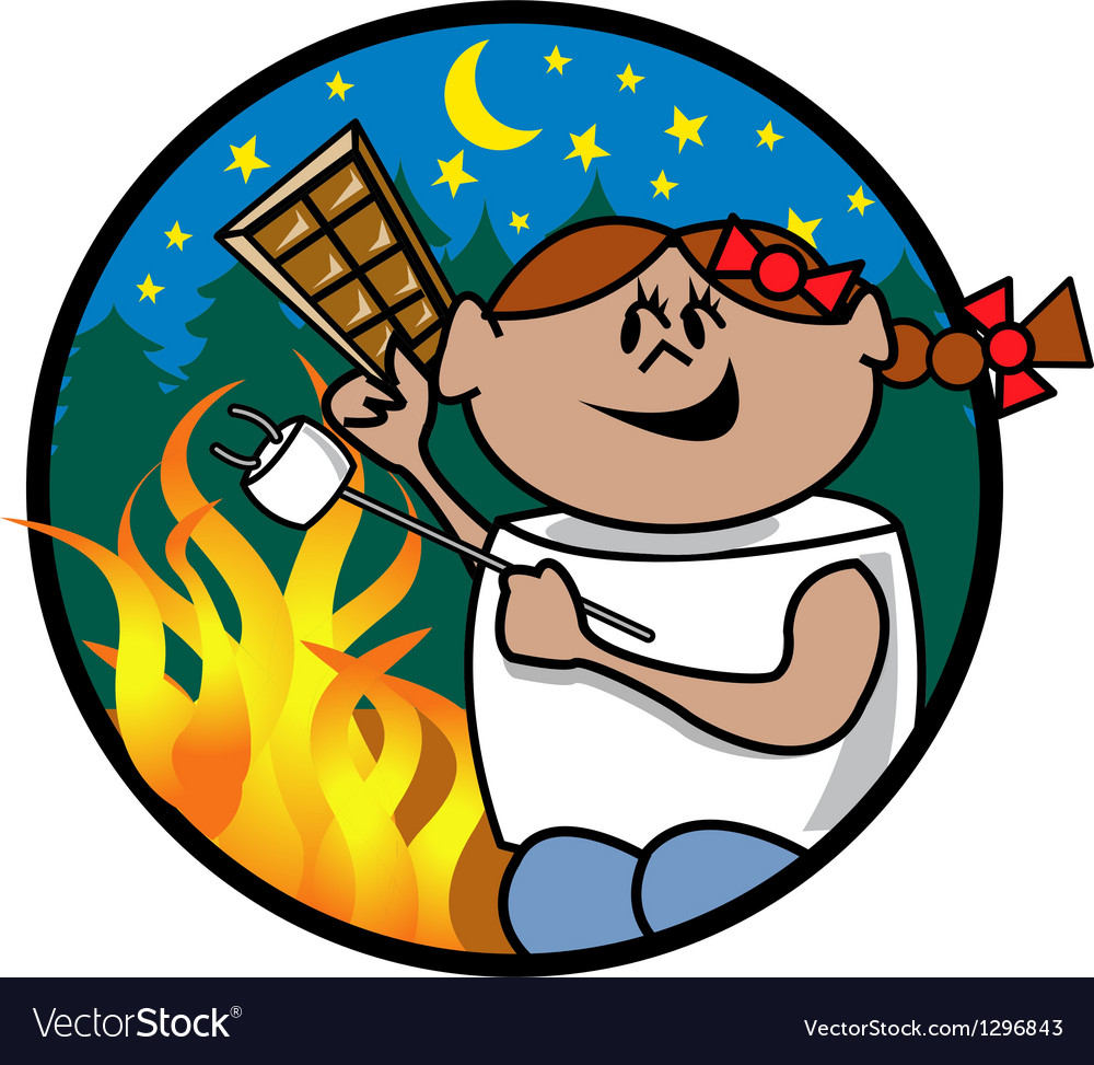 Girl roasting marshmellow vector image