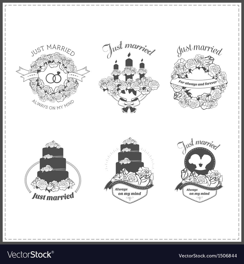 Set of wedding vintage design elements vector image