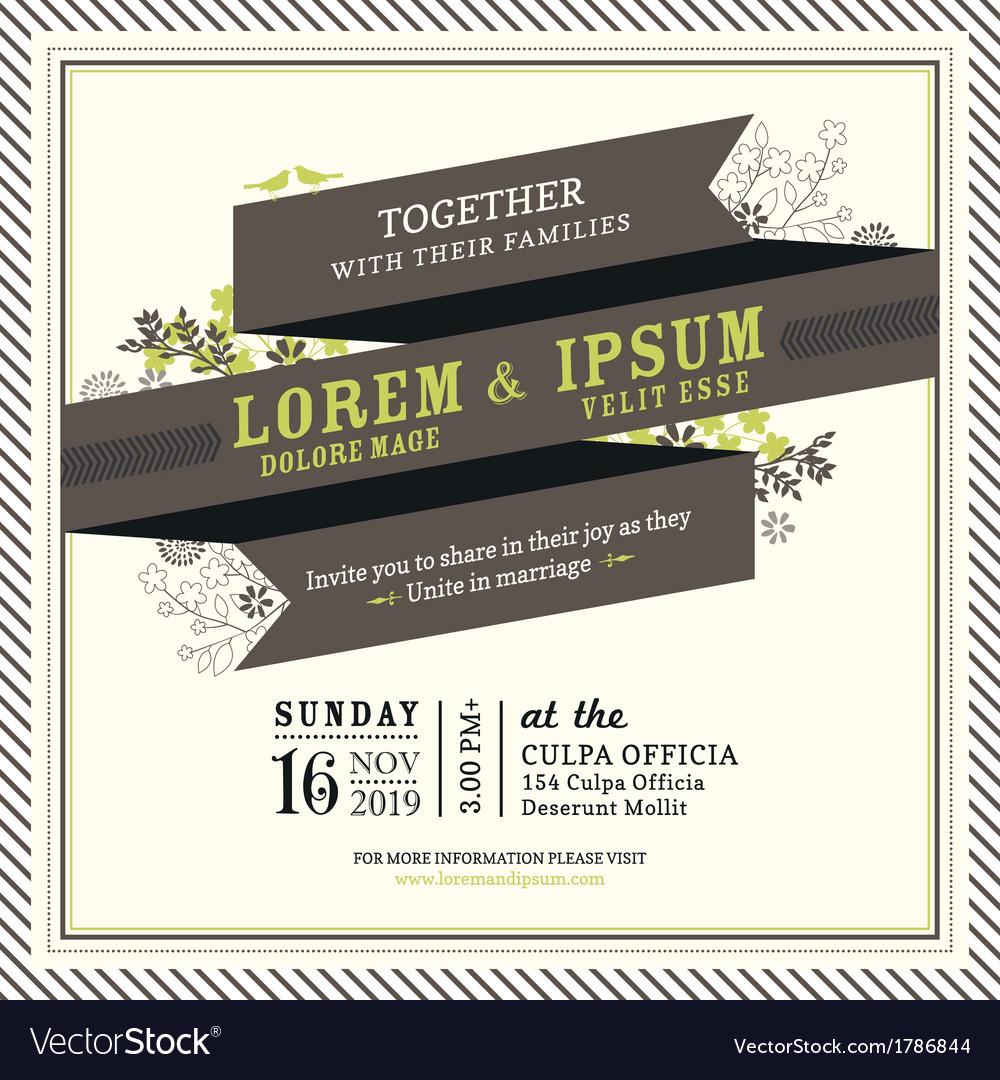 Vintage Ribbon banner Wedding invitation frame vector image