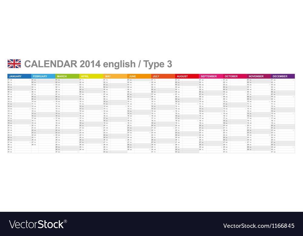 Calendar 2014 English Type 3 vector image
