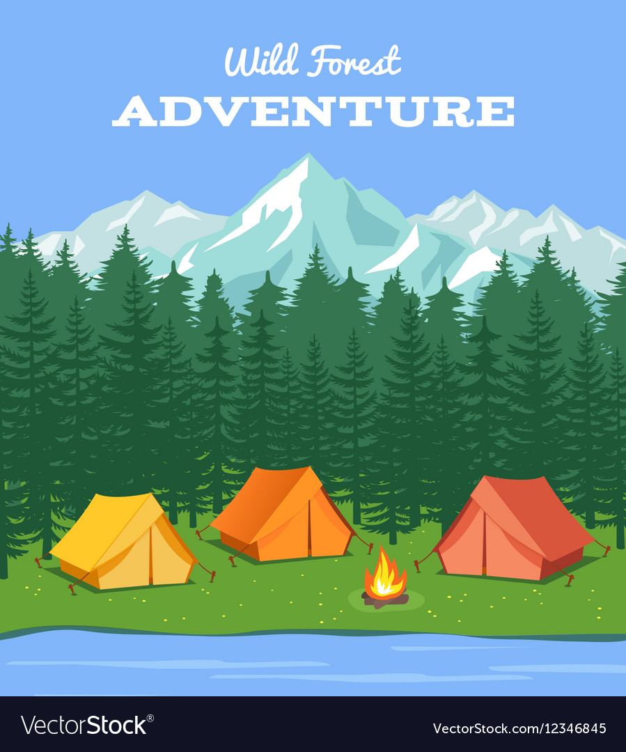 Outdoor camping Nature background with river and vector image
